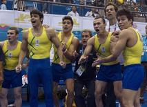 Equipe brasileira de ginástica artística comemora medalha de ouro no Pan de  Guadalajara. REUTERS/Andy Clark