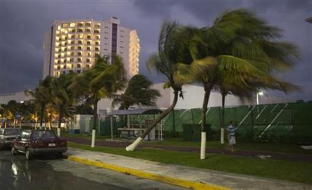 A tourist walks past palm trees swaying in winds caused by the proximity of the Rina hurricane off the coast of Quintana Roo in Cancun's hotel zone October 25, 2011.  REUETERS/Victor Ruiz Garcia