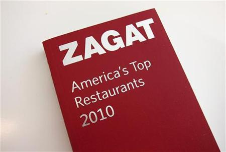 A Zagat restaurant guide book is pictured in Los Angeles September 8, 2011. REUTERS/Fred Prouser