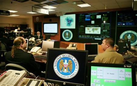 The National Security Agency (NSA) logo is shown on a computer screen inside the Threat Operations Center at the NSA in Fort Meade, Maryland, January 25, 2006.  REUTERS/Jason Reed
