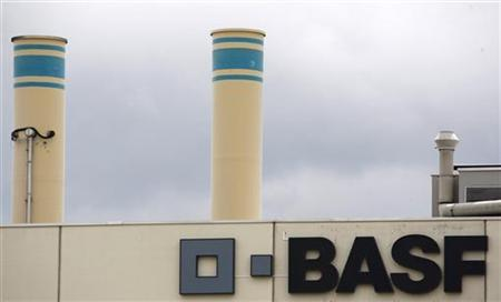 A logo is seen on the facade of the BASF plant and former Ciba production site in Schweizerhalle near Basel July 7, 2009. REUTERS/Christian Hartmann