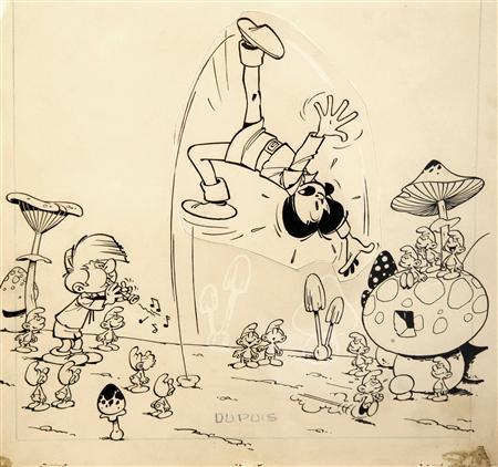The ink on paper original drawing by Belgian cartoonist Peyo for the cover of the 1960 album, ''Johan and Peweet  The Smurfs and the Magic Flute'', is displayed at the Artcurial auction house in Paris, October 26, 2011.   REUTERS/Charles Platiau