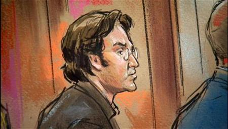 Syrian-born U.S. citizen Mohamad Anas Haitham Soueid appears in Federal Court in Alexandria, VA in a courtroom sketch, October 11, 2011.   REUTERS/William Hennessy