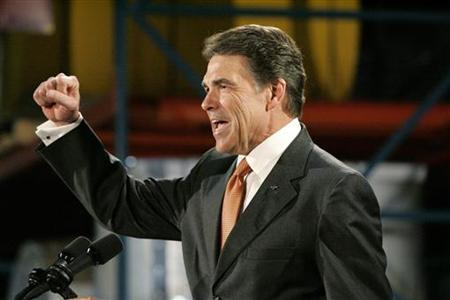 Republican presidential candidate Texas Governor Rick Perry speaks during a visit to plastics manufacturer ISO Poly Films in Gray Court, South Carolina October 25, 2011. REUTERS/Mary Ann Chastain