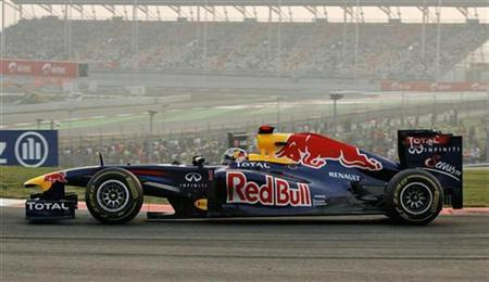 Red Bull Formula One driver Sebastian Vettel of Germany drives during the first Indian F1 Grand Prix at the Buddh International Circuit in Greater Noida on the outskirts of New Delhi October 30, 2011.  REUTERS/Altaf Hussain