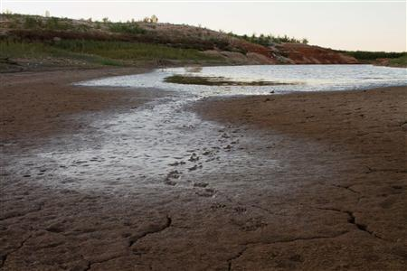 A view of the dry bed of the E.V. Spence Reservoir in Robert Lee, Texas October 28, 2011. REUTERS/Callie Richmond