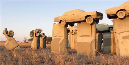 ''Carhenge,'' a full-scale automotive replica of England's Stonehenge made of 38 vintage automobiles, is pictured in Alliance, Nebraska, in this photograph taken on October 27, 2011 and released on October 28. The Friends of Carhenge on Thursday put the site up for sale at an asking price of $300,000. Picture taken October 27, 2011. REUTERS/Stringer