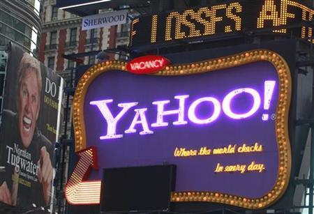 A Yahoo billboard is seen in New York's Times Square October 19, 2010. REUTERS/Brendan McDermid