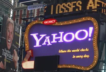 A Yahoo billboard is seen in New York's Times Square October 19, 2010. REUTERS/Brendan McDermid