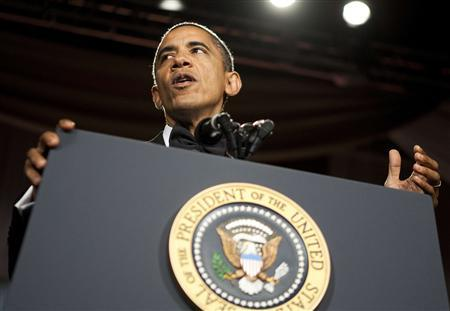 U.S. President Barack Obama speaks at the National Italian American Foundation Gala in Washington October 29, 2011.      REUTERS/Joshua Roberts