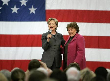 Hillary Clinton on stage with her mother Dorothy Rodham, during a rally in Des Moines, Iowa, December 7, 2007. REUTERS/Jason Reed