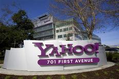 <p>Yahoo Inc annonce le rachat d'Interclick pour 270 millions de dollars (196,4 millions d'euros), afin de relancer son activité de publicité en ligne, tout en continuant à chercher d'éventuels acquéreurs. /Photo d'archives/REUTERS/Kimberly White</p>
