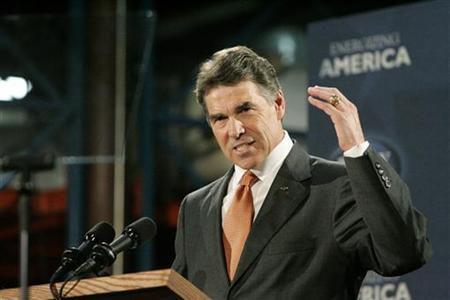 Republican presidential candidate Texas Governor Rick Perry gestures as he speaks during a visit to plastics manufacturer ISO Poly Films in Gray Court, South Carolina October 25, 2011.  REUTERS/Mary Ann Chastain