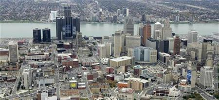 An aerial view is seen of downtown Detroit, Michigan, in this file photo taken October 16, 2006.REUTERS/Molly Riley/Files