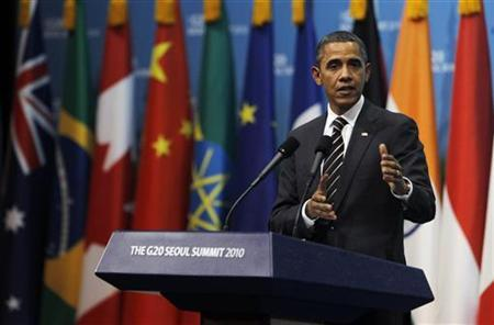 U.S. President Barack Obama speaks during a news conference at the G20 Summit in Seoul November 12, 2010.   REUTERS/Jason Reed