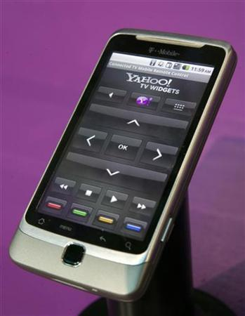 A smartphone with Yahoo! Connected TV remote application is shown during the 2011 International Consumer Electronics Show (CES) in Las Vegas, Nevada January 7, 2011. REUTERS/Steve Marcus