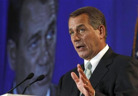Speaker of the House John Boehner speaks to the 2011 meeting of National Automobile Dealers Association about job creation in Washington, September 21, 2011.     REUTERS/Larry Downing