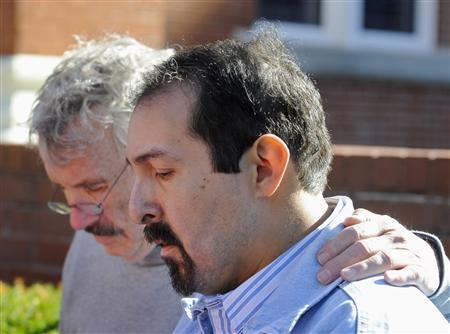 Gilbert Padilla, who claims to be a victim of child sex abuse at the hands of a Catholic priest, announces his lawsuit as David Biersmith, (L) with Vices of the Faithful support group, offers support outside the Cathedral of the Immaculate Conception in downtown Kansas City, Missouri November 3, 2011. REUTERS/Dave Kaup