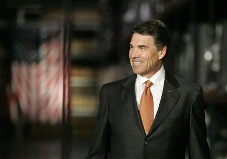 Republican presidential candidate Texas Governor Rick Perry looks on during a visit to plastics manufacturer ISO Poly Films in Gray Court, South Carolina October 25, 2011. REUTERS/Mary Ann Chastain