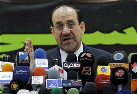 Iraq's Prime Minister Nuri al-Maliki speaks at a ceremony to mark the birth anniversary of Prophet Mohammed at Um al-Qura mosque in Baghdad February 15, 2011. REUTERS/Mohammed Ameen