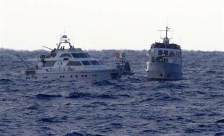 An image released by the Israel Defence Forces (IDF) shows the two Gaza-bound boats carrying pro-Palestinian activists in the Mediterranean Sea November 4, 2011.REUTERS/Handout/IDF