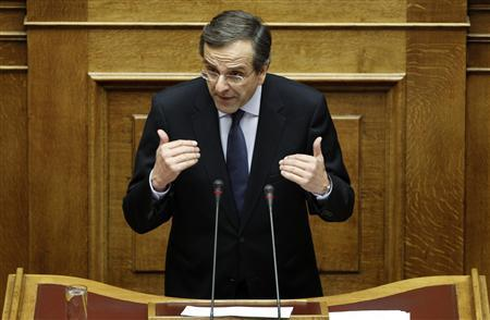 Leader of the conservative New Democracy party Antonis Samaras delivers a speech during a parliament session in Athens November 3, 2011. REUTERS/Yiorgos Karahalis