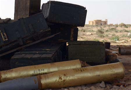 Munitions are seen inside an abandoned bunker complex near the eastern Libyan city of Ajdabiyah, November 4, 2011. REUTERS/Staff