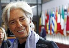 <p>International Monetary Fund (IMF) President Christine Lagarde holds a briefing at the end of a euro zone leaders summit in Brussels October 27, 2011. REUTERS/Francois Lenoir</p>