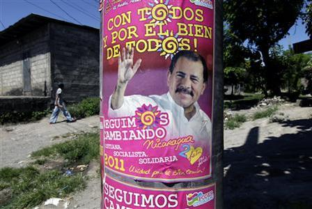 A poster of presidential candidate of the ruling Sandinista National Liberation Front (FSLN) and Nicaragua's President Daniel Ortega is seen on a street in Granada, about 50 km (31 miles) from Managua November 5, 2011. Nicaragua will hold its presidential elections on Sunday with incumbent Daniel Ortega favored to win a second consecutive term for his party of former Marxist guerrillas, the Sandinista National Liberation Front. REUTERS/Enrique De La Osa