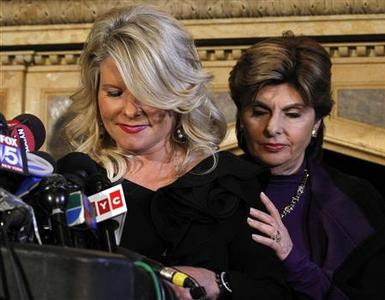 Sharon Bialek speaks during a news conference accusing Republican presidential hopeful Herman Cain of sexual harassment with her lawyer Gloria Allred (R) in New York, November 7, 2011. REUTERS/Brendan McDermid