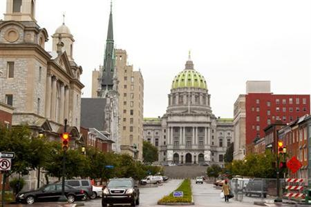 The Pennsylvania State Capitol Building as seen from State Street in Harrisburg, Pennsylvania, October 12, 2011. REUTERS/Daniel Shanken