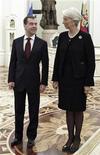 Президент России Дмитрий Медведев (слева) и глава МВФ Кристин Лагард в московском Кремле 7 ноября 2011 года. Россия хочет усилить финансовую поддержку Международного валютного фонда (МВФ), чтобы помочь Европе справиться с долговым кризисом, сказала во вторник глава МВФ Кристин Лагард. REUTERS/Mikhail Klimentyev/RIA Novosti/Kremlin