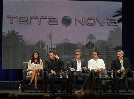 (From L to R) British actress Shelley Conn and Irish actor Jason O'Mara, stars of the new series ''Terra Nova'' along with Brannon Braga, executive producer and writer, Rene Echevarria, writer and executive producer and Jon Cassar, director and executive producer, attend a panel session at the FOX Summer TCA Press Tour  in Beverly Hills, California August 5, 2011.  REUTERS/Fred Prouser