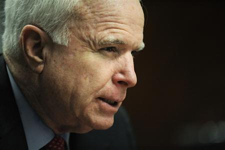 Senator John McCain (R-AZ) addresses the Reuters Washington Summit in the Reuters newsroom in Washington, November 8, 2011. REUTERS/Jonathan Ernst