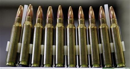The predominant ammunition used by the U.S. Military, the .223 caliber shell, is shown in Lynn Kartchner's gun shop in Douglas, Arizona May 14, 2008. REUTERS/Jeff Topping