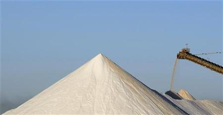 A stacker pours salt onto a stock pile at Rio Tinto's Dampier Salt Limited production facility at Port Hedland, about 1,600 km (960 miles) north of Perth, May 27, 2008.    REUTERS/Tim Wimborne
