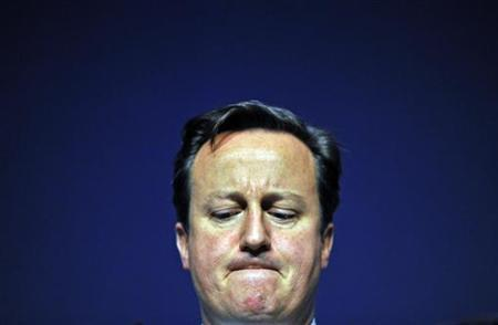 Prime Minister David Cameron reacts during a news conference on the second day of the G20 Summit in Cannes November 4, 2011. REUTERS/Toby Melville
