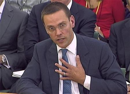 BSkyB Chairman James Murdoch appears before a parliamentary committee on phone hacking at Portcullis House in London July 19, 2011.  REUTERS/Parbul TV via Reuters Tv
