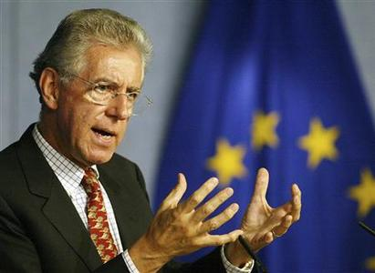 Former European Commissioner Mario Monti gestures during a news conference in Brussels, September 22, 2003. REUTERS/Francois Lenoir/Files