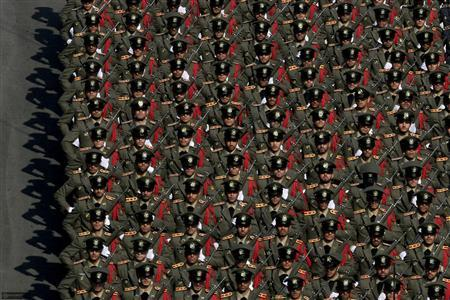 Members of the Iranian army land force academy parade during a graduating ceremony in Tehran November 10, 2011. REUTERS/Khamenei.ir/Handout