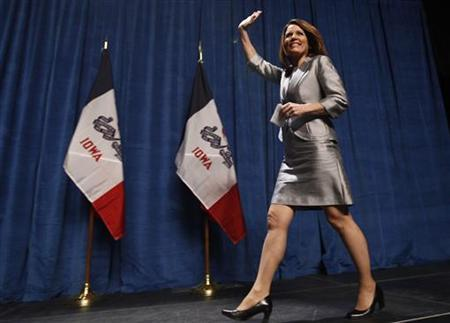 U.S. Republican presidential candidate and Minnesota Congresswoman Michele Bachmann arrives to speak at the annual Republican Party of Iowa Ronald Reagan Dinner in Des Moines, Iowa, November 4, 2011. REUTERS/Jim Young
