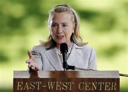 U.S. Secretary of State Hillary Clinton delivers remarks on ''America's Pacific Century'' at APEC Leaders Week in Hawaii, in Honolulu, Hawaii November 10, 2011. REUTERS/Yuriko Nakao