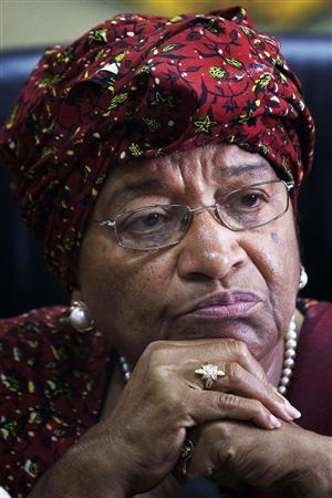 Incumbent Liberian President and this year's Nobel Peace Prize winner Ellen Johnson-Sirleaf attends a news conference in the capital Monrovia, November 10, 2011. REUTERS/Finbarr O'Reilly