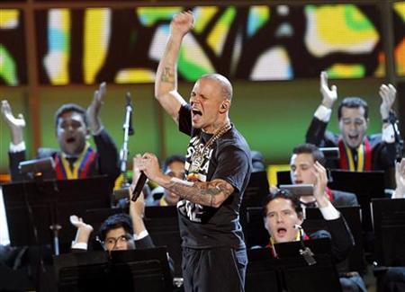 Calle 13 performs ''Latinoamerica'' at the 12th annual Latin Grammy Awards in Las Vegas, Nevada November 10, 2011.  REUTERS/Mario Anzuoni