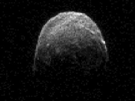 This NASA radar image showing asteroid 2005 YU55 was obtained on November 7, 2011, at 11:45 a.m. PST (2:45 p.m. EST/1945 UTC), when the space rock was at 3.6 lunar distances, which is about 860,000 miles, or 1.38 million kilometers, from Earth.  REUTERS/NASA/JPL-Caltech/Handout