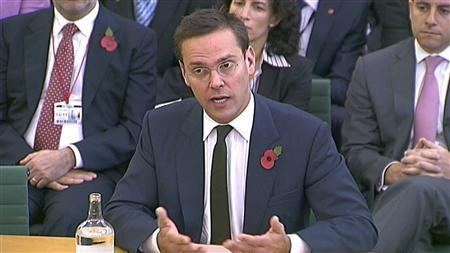 News Corp executive James Murdoch speaks to a parliamentarians in London November 10, 2011.    REUTERS/Parbul TV via Reuters TV