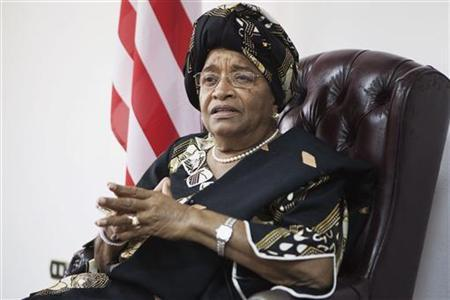 Liberia's President and 2011 Nobel Peace Prize winner Ellen Johnson-Sirleaf listens to a question during an interview with Reuters at her office in Monrovia November 11, 2011. REUTERS/Finbarr O'Reilly