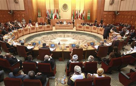 Arab foreign ministers attend an emergency meeting on Syria at the Arab League Headquarters in Cairo, November 12, 2011,  REUTERS/Asmaa Waguih