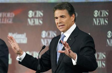 Texas Governor Rick Perry makes a point during a South Carolina Republican party presidential debate in Spartanburg, South Carolina, November 12, 2011. REUTERS/Chris Keane