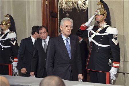 Newly appointed Prime Minister Mario Monti arrives to speak to reporters following a talk with Italian President Giorgio Napolitano at the Quirinale palace in Rome November 13, 2011. Italy's head of state begins talks on Sunday to appoint an emergency government to succeed outgoing Prime Minister Silvio Berlusconi and handle a crisis that has brought the euro zone's third largest economy to the brink of financial disaster.  REUTERS/Quirinale Presidential Office/Handout